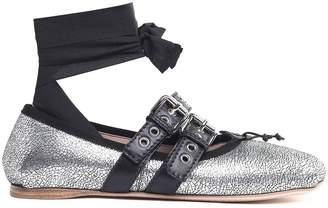 Miu Miu Lace-up Crackled Metallic-leather Ballet Flats
