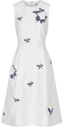 Draper James Embellished Silk And Cotton-blend Dress - Off-white