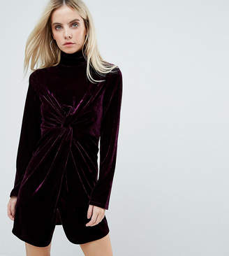 Fashion Union Petite Long Sleeve Mini Dress With High Neck In Velvet