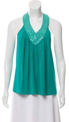 Alice + Olivia Sleeveless Sequined Top w/ Tags Turquoise Sleeveless Sequined Top w/ Tags