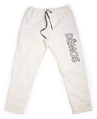 DÃMOS - Demos White Big Logo Embroidered Corduroy Trousers
