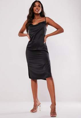 c6a064adcc Missguided Black Satin Strappy Cowl Midi Dress