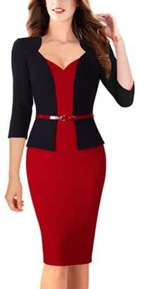 Yacun Women's 3/ Sleeve Slim Fit Business Pencil Dress