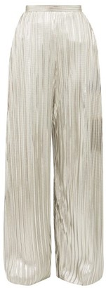 Rodarte Wide Leg Pleated Metallic Trousers - Womens - Silver