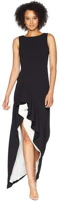 Calvin Klein Asymmetric High-Low Gown with Contrast Lining CD8B14NM Women's Dress