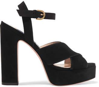 Stuart Weitzman Joni Suede Platform Sandals - Black