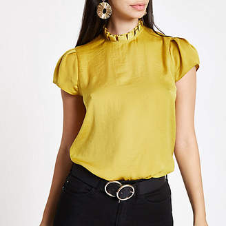River Island Yellow frill neck shell top