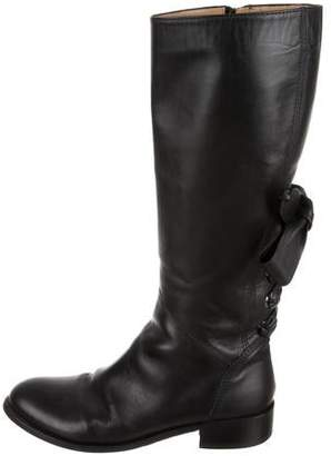 Valentino Bow-Accented Leather Knee-High Boots