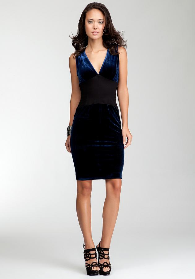 Contrast Ponte Velvet Dress - bebeBLACK