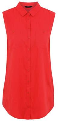 George Woven Linen Blend Sleeveless Shirt