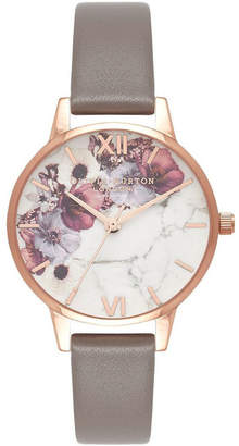 Olivia Burton Marble Florals Rose Gold & Grey Watch