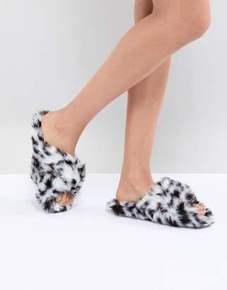 Neve ASOS DESIGN cross strap leopard slider slippers