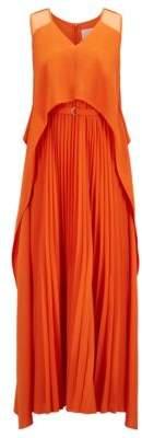 BOSS Hugo Layered crepe maxi dress plisse skirt 4 Orange