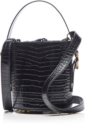 Les Petits Joueurs Baby Olivia Crocodile Embossed Leather Bucket Bag