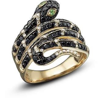 Bloomingdale's Black and White Diamond Snake Ring with Tsavorite in 14K Yellow Gold