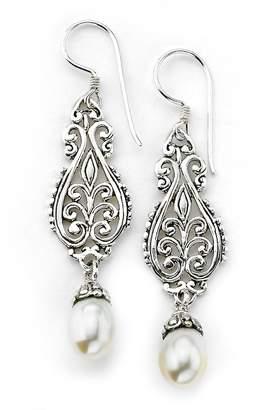 Samuel B Jewelry Sterling Silver Filigree 7-8mm Freshwater Pearl Drop Earrings