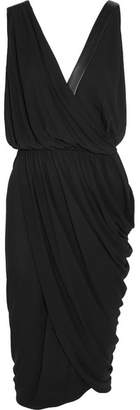 Michael Kors Collection - Leather-trimmed Draped Stretch-crepe Dress - Black