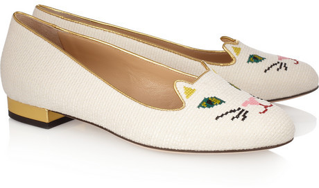 Charlotte Olympia Kitty embroidered woven cotton slippers