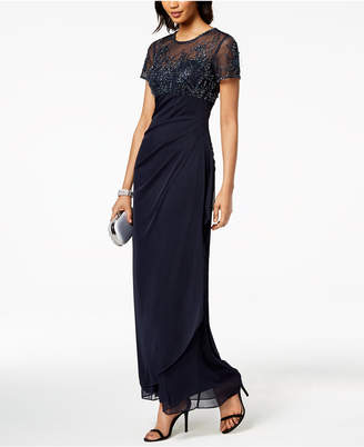 Xscape Evenings Short-Sleeve Beaded & Draped Gown