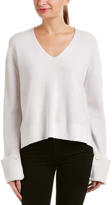 Helmut Lang Button Cuff Wool & Cashmere-Blend Sweater