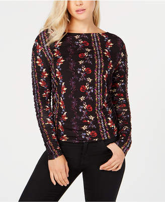 GUESS Long Sleeve Zion Ruched Top