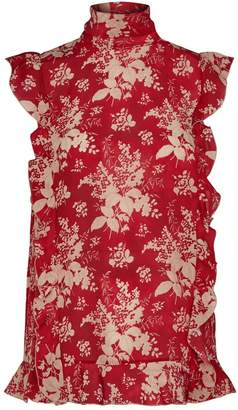 RED Valentino Floral Ruffle Sleeveless Top
