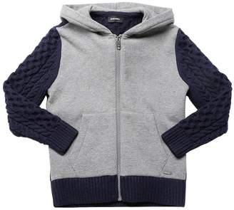 Diesel Wool Knit & Cotton Sweatshirt Hoodie