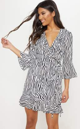PrettyLittleThing Black Zebra Print Wrap Tea Dress