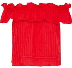 Nicholas Sofia Off-The-Shoulder Ruffled Cotton-Gauze Top