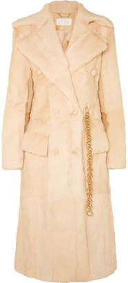 Chloé Double-breasted Shearling Coat - Beige