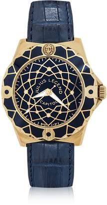 Julius Legend Capitol - 18K Gold & Blue Crocodile Leather Watch