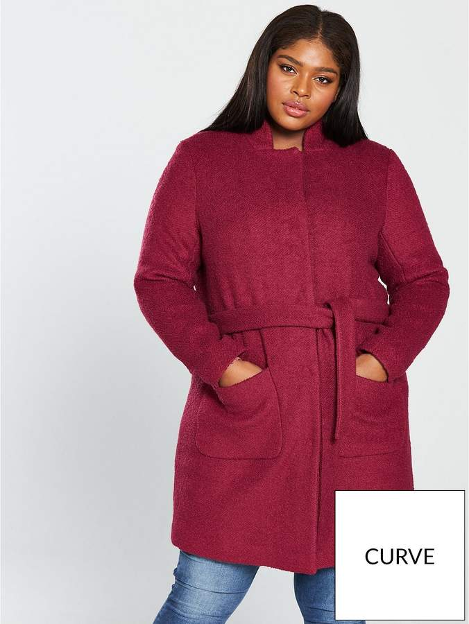 Hasla Collarless Wrap Coat - Rumba Red