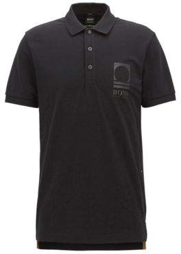BOSS Hugo Cotton Polo Shirt, Slim Fit Paule Flag L Black