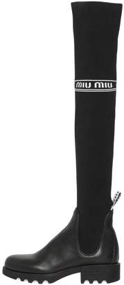 Miu Miu 40mm Leather & Knit Over The Knee Boots