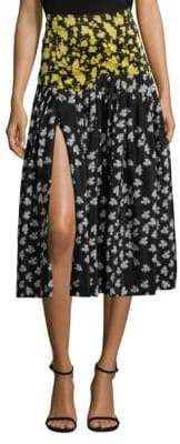 Derek Lam Printed Pleated A-Line Skirt