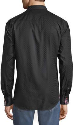 Pan Am Maceoo Shaped-Fit Mini Panam Square Sport Shirt, Black