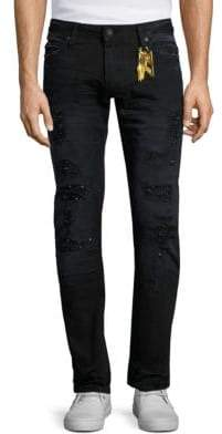 Slim Fit Long Flap Distressed Jeans