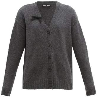 Miu Miu Bow Trim Wool Blend Cardigan - Womens - Dark Grey