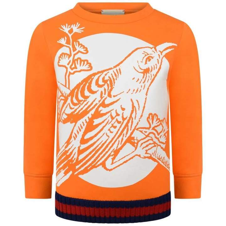 GUCCIOrange Neoprene Bird Sweater