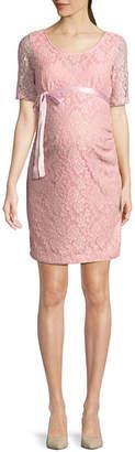 PLANET MOTHERHOOD Planet Motherhood Elbow Sleeve Scoop Neck Lace Dress - Maternity