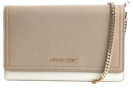 Givenchy grey colorblock leather foldover mini convertible clutch