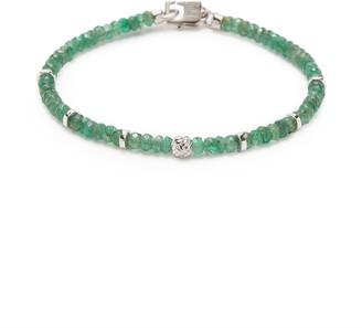 Tateossian 'Nodo Precious' emerald bead rhodium silver bracelet