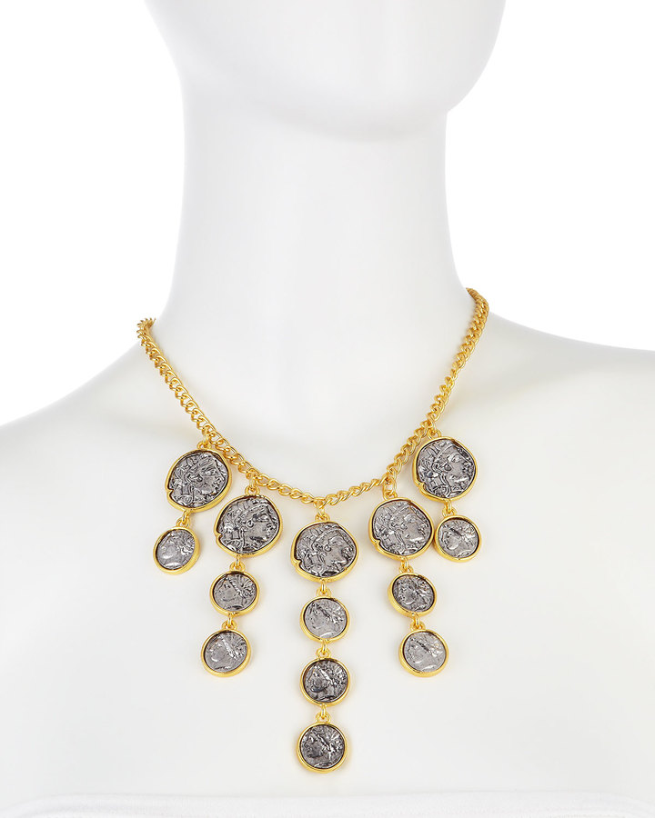 Kenneth Jay Lane Golden Coin Drop Bib Necklace