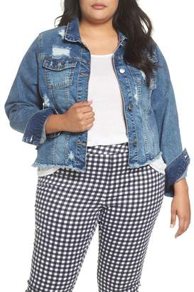 Rachel Roy Destructed Denim Jacket (Plus Size)
