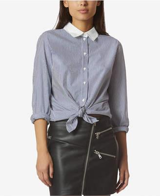 AVEC LES FILLES Cotton Menswear-Stripe Boyfriend Shirt