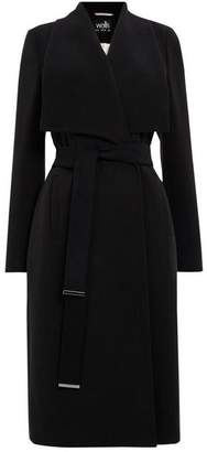 Wallis Black Twill Drape Collar Coat