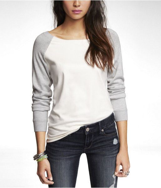 Express Faux Suede Front Raglan Sleeve Sweater