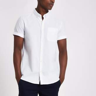 River Island Mens White casual short sleeve Oxford shirt