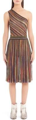 Missoni Metallic Stripe One-Shoulder Dress