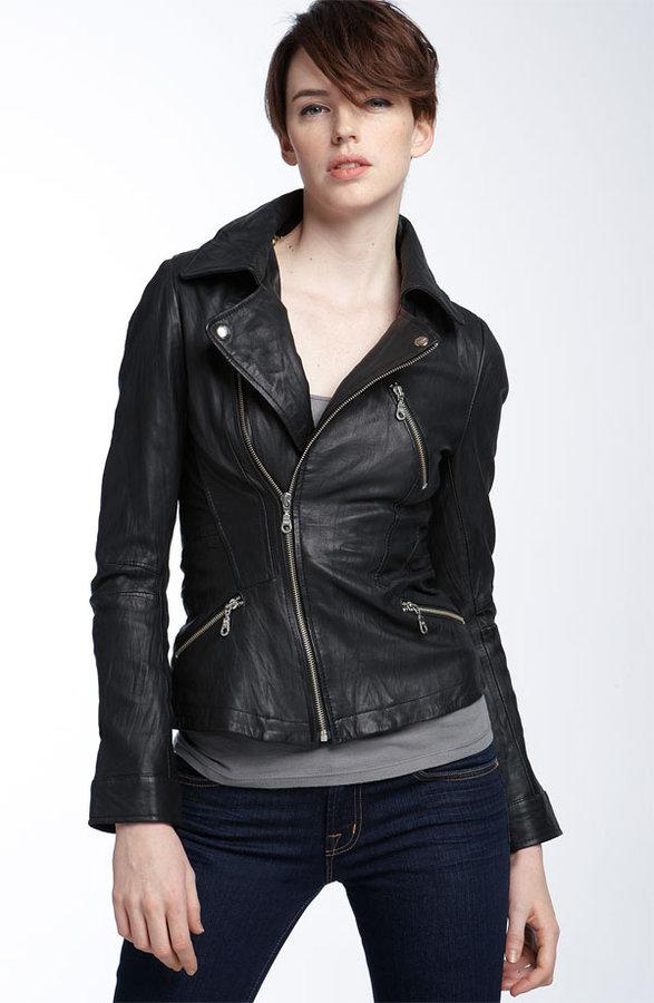 KennaT Washed Leather Motorcycle Jacket